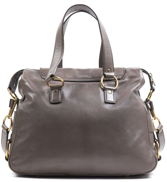 YVES SAINT LAURENT Gray Leather Rive Gauche Top Handle Satchel Bag