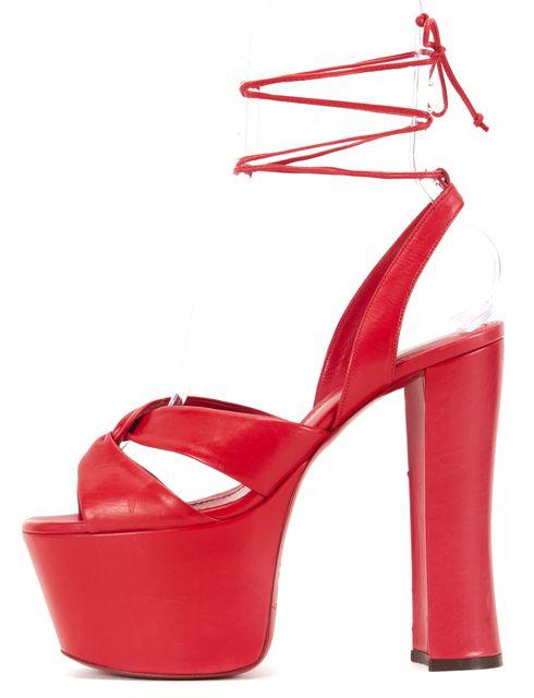 YVES SAINT LAURENT Red Leather Criss Cross Lace Up Platform Sandals