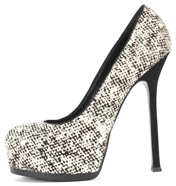 YVES SAINT LAURENT Black White Printed Calf Hair Platform Pump Shoes