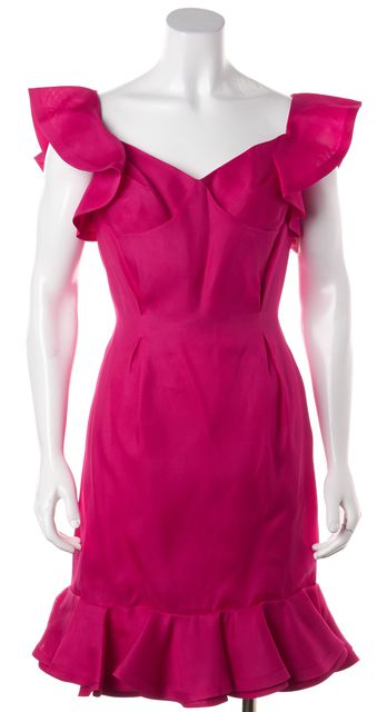 YVES SAINT LAURENT Fuchsia Pink Silk Ruffle Back Sheath Dress
