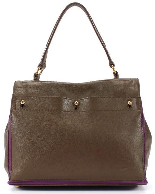 YVES SAINT LAURENT Brown Purple Trim Leather Muse 2 Top Handle Bag