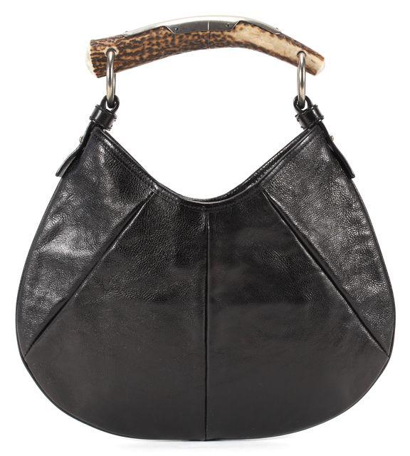 YVES SAINT LAURENT Black Leather Rive Gauche Small Mombassa Horn Top Handle Bag