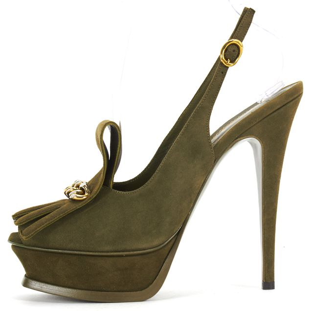 YVES SAINT LAURENT Olive Green Suede Tribute Peep Toe Sling Back Pumps