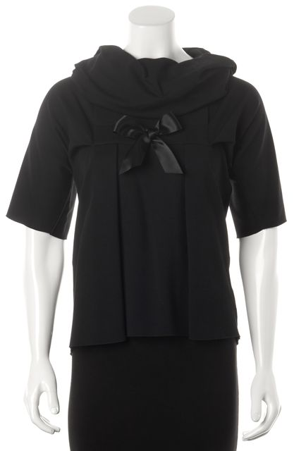 YVES SAINT LAURENT Black Cowl Neck Pleated Bow Embellished Knit Top