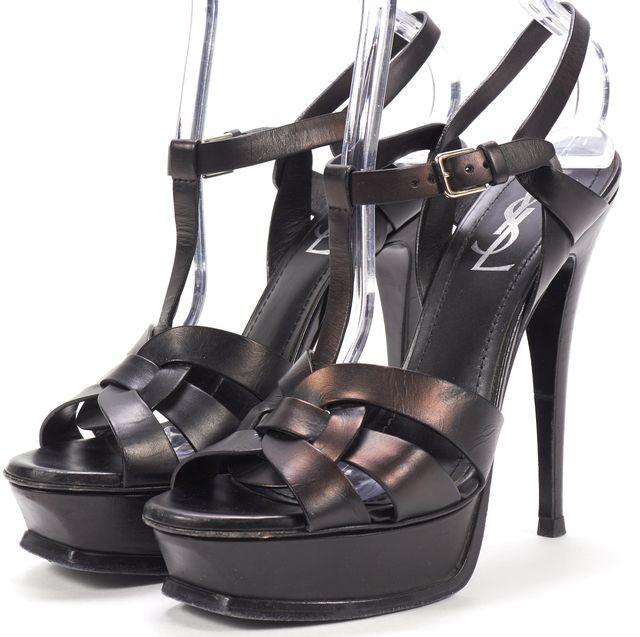 YVES SAINT LAURENT Metallic Black Leather Tribute 105 Sandals Pumps