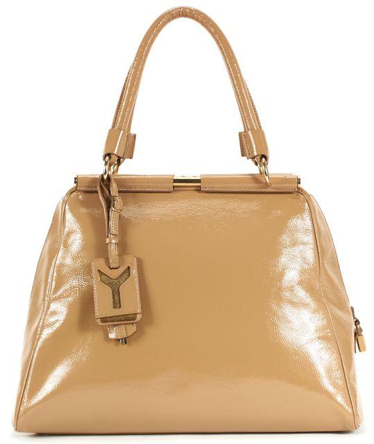 YVES SAINT LAURENT Beige Patent Leather Gold Hardware Top Handle Bag