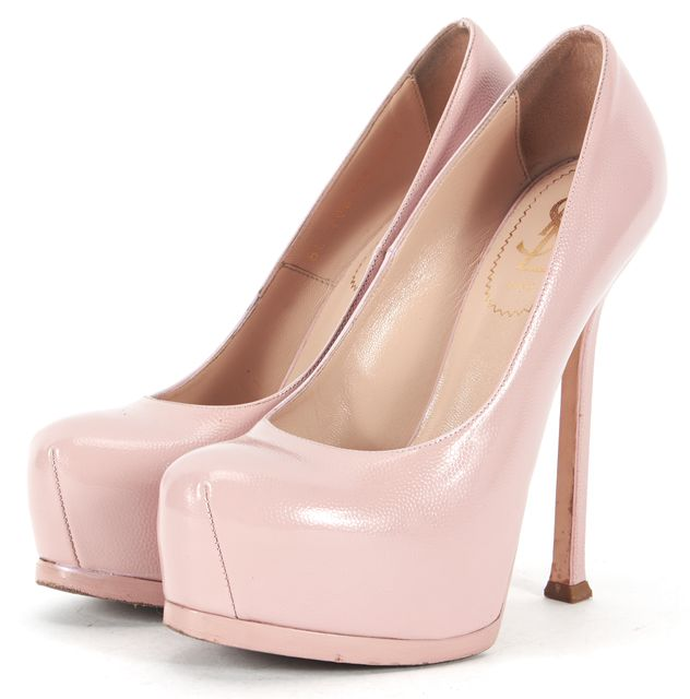 YVES SAINT LAURENT Pink Patent Leather Round Toe Platform Heels