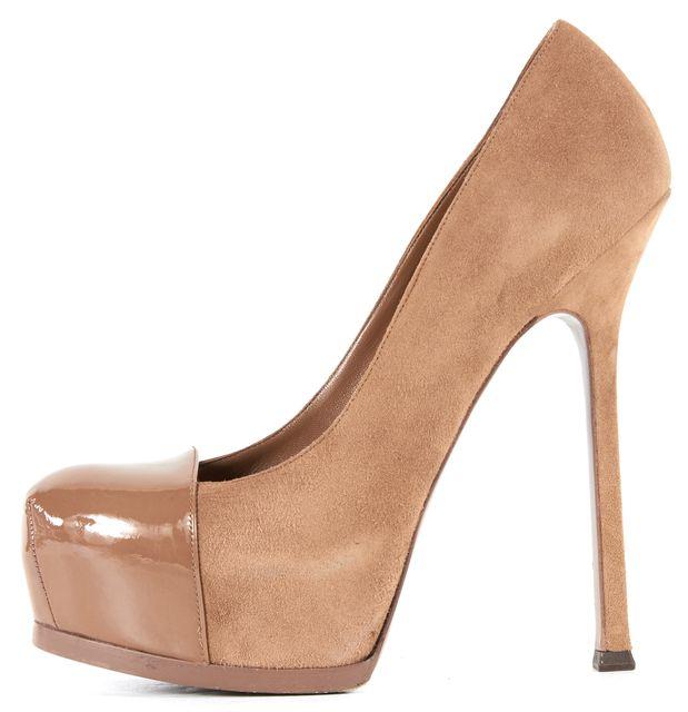 YVES SAINT LAURENT Beige Suede Patent Leather Platform Heels