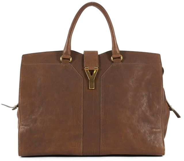 YVES SAINT LAURENT Brown Leather Chyc Top Handle Bag