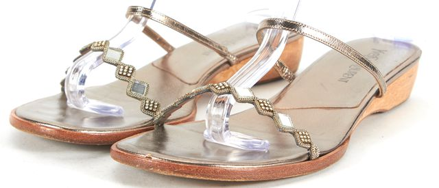 YVES SAINT LAURENT Silver Embellished Leather Slip-On Sandals