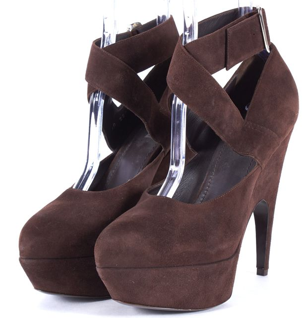 YVES SAINT LAURENT Brown Suede Ankle Strap Platform Shoes