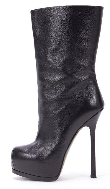 YVES SAINT LAURENT Black Stingray Embossed Leather Platform Mid-Calf Boots