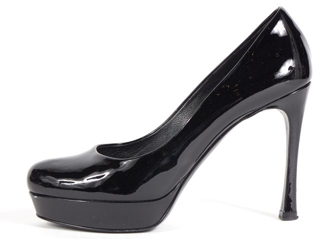 YVES SAINT LAURENT Black Patent Leather Platform Heels