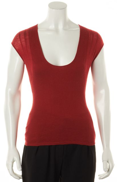 YVES SAINT LAURENT Red Scoop Neck Cap Sleeve Knit Top