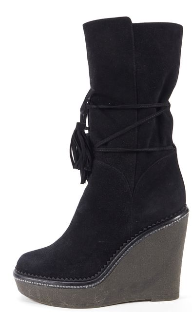 YVES SAINT LAURENT Black Suede Y Da 9 Wedged Mid-Calf Boots