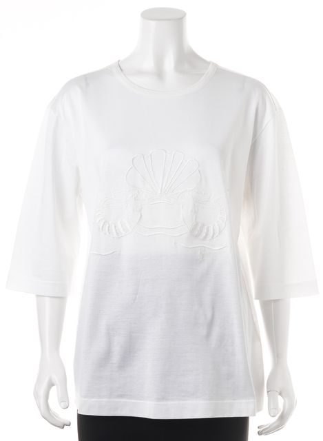 YVES SAINT LAURENT White Graphic Tunic Top