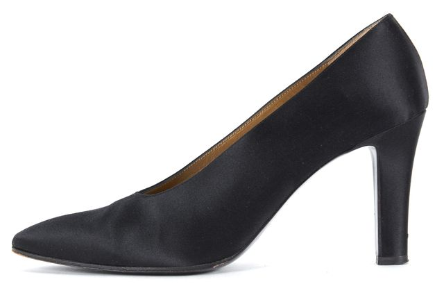 YVES SAINT LAURENT Black Satin Pointed Toe Heels