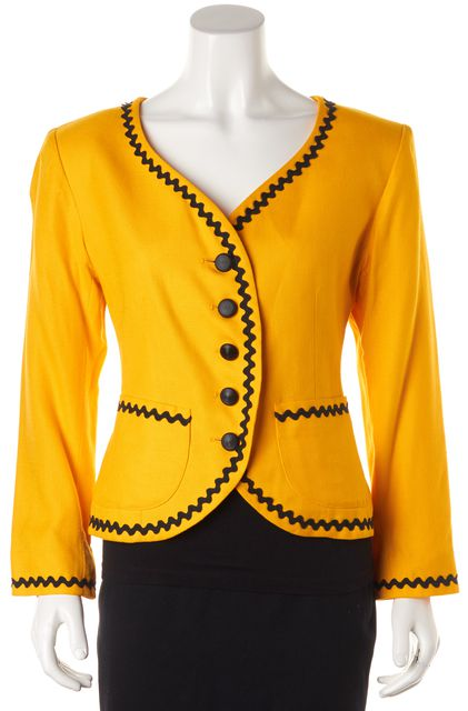 YVES SAINT LAURENT Yellow Black Trim Jacket