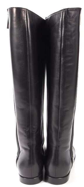YVES SAINT LAURENT Black Leather Flat Knee-High Boots
