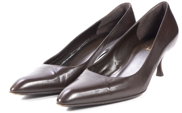 YVES SAINT LAURENT Brown Leather Pointed Toe Kitten Heels