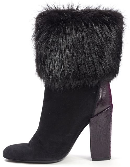 YVES SAINT LAURENT Black Purple Python Embossed Leather Fur Cuff Boots