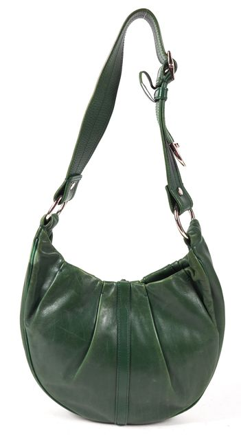 YVES SAINT LAURENT Green Pleated Genuine Leather Shoulder Bag