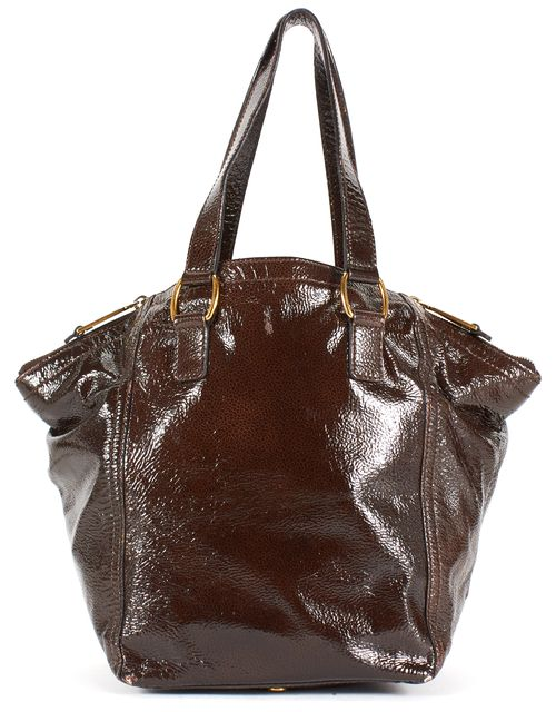 YVES SAINT LAURENT Brown Patent Leather Downtown Tote Bag