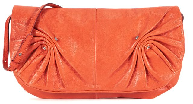 YVES SAINT LAURENT Orange Ruched Leather Silver Hardware Flap Shoulder Bag