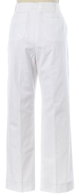 YVES SAINT LAURENT White Cotton High Waisted Trousers Pants