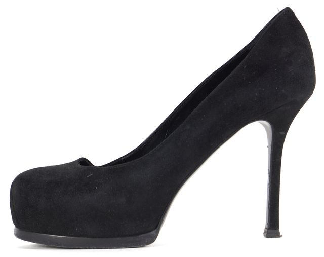 YVES SAINT LAURENT Black Suede Platform Pump Heels