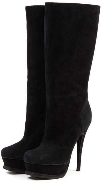 YVES SAINT LAURENT Black Suede Mid-Calf Stiletto Heel Boots Size7 EU 37