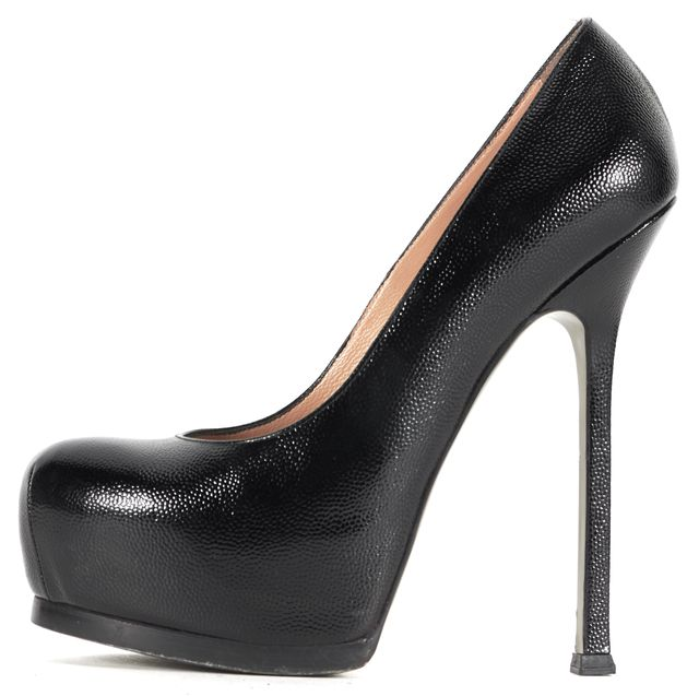 YVES SAINT LAURENT Black Patent Leather Tribtoo Platform Heels