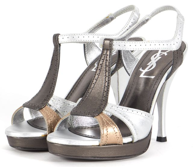 YVES SAINT LAURENT Silver Gray Gold Leather Satin T-Strap Heels