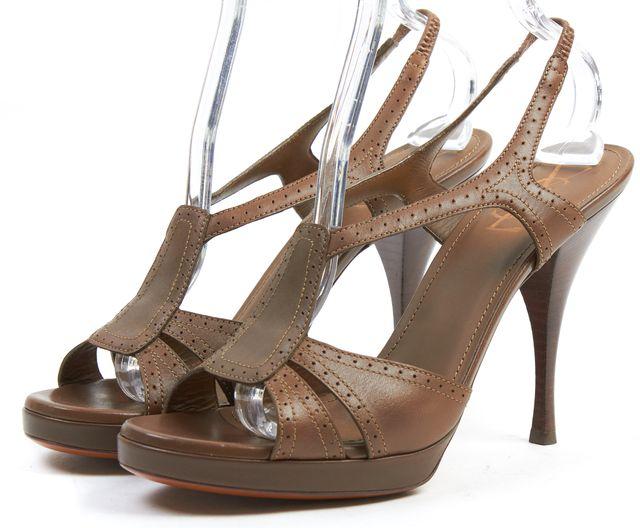 YVES SAINT LAURENT Taupe Brown Leather Slingback Sandal Heels