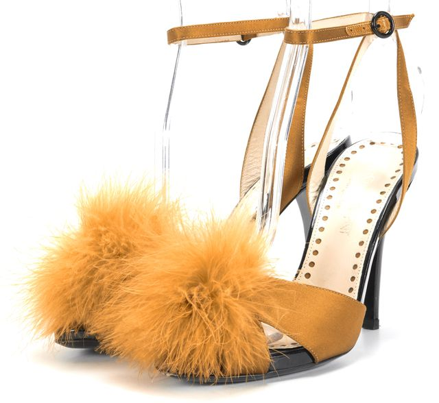 YVES SAINT LAURENT Gold Eva Feather Pom Pom Ankle Sandal Heels