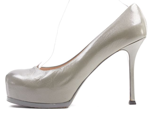 YVES SAINT LAURENT Cement Gray Leather Platform Heels