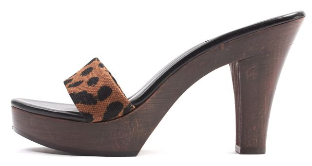 YVES SAINT LAURENT Brown Black Leopard Print Canvas Platform Mule Heels