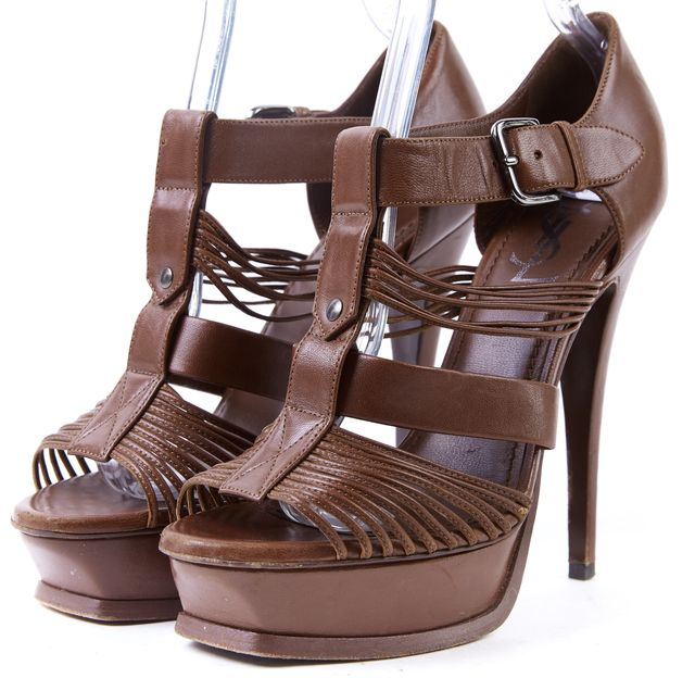 YVES SAINT LAURENT Brown Leather Platform Tribute Sandal Heels