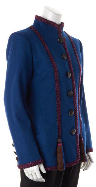 YVES SAINT LAURENT Blue Purple Wool Button Up Military Coat