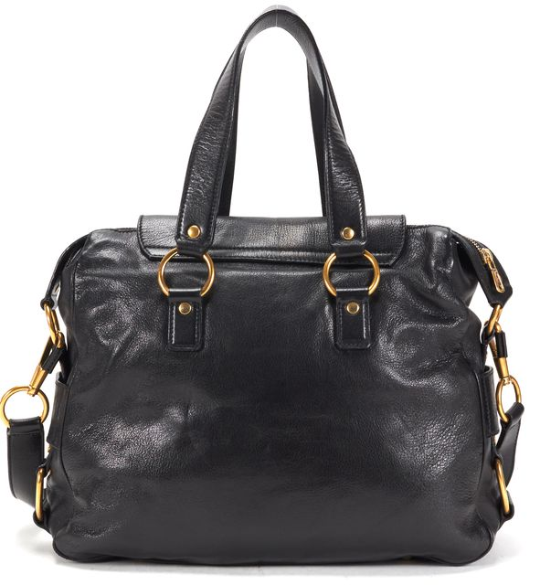 YVES SAINT LAURENT Black Leather Gold-Tone Hardware Muse Messenger Satchel