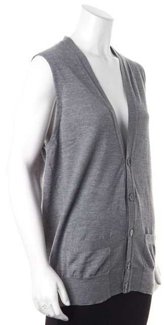 YVES SAINT LAURENT Gray Virgin Wool Knit Sleeveless V-Neck Vest