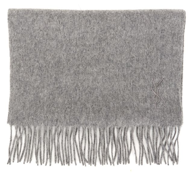YVES SAINT LAURENT Gray Wool Cashmere Fringe Scarf