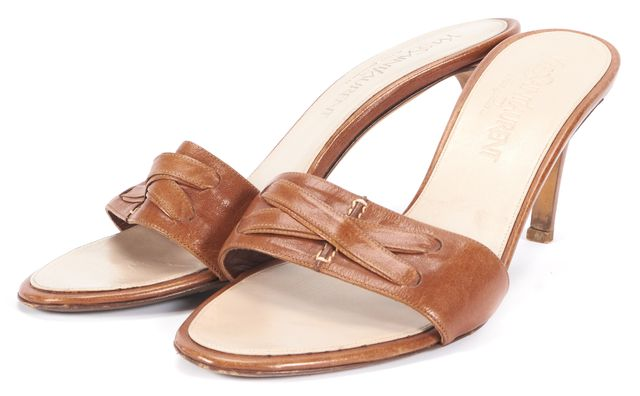YVES SAINT LAURENT Tan Brown Leather Sandal Heels