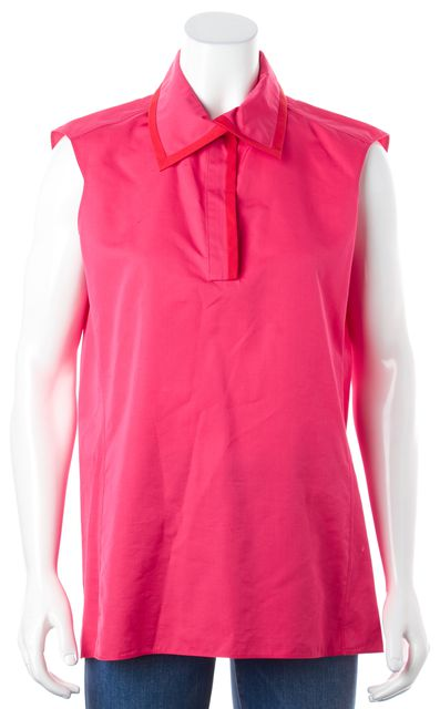 YVES SAINT LAURENT Pink Sleeveless Button Down Blouse Top