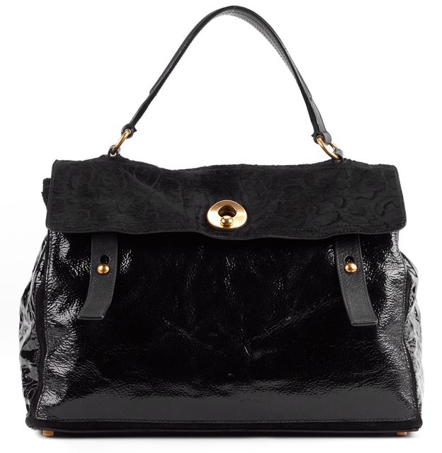 YVES SAINT LAURENT Black Leather Rive Gauche Satchel Handbag