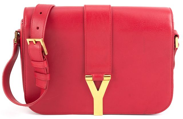 YVES SAINT LAURENT SAINT LAURENT Red Leather Chyc Y Gold-Tone Hardware Crossbody Bag