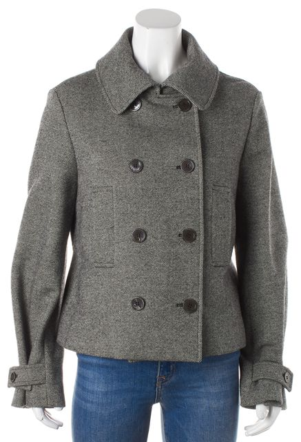 YVES SAINT LAURENT Gray Wool Peacoat