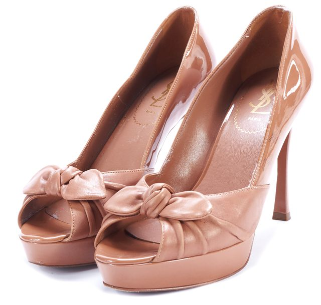 YVES SAINT LAURENT Neutrals Leather Bow Embellished Pump Heels