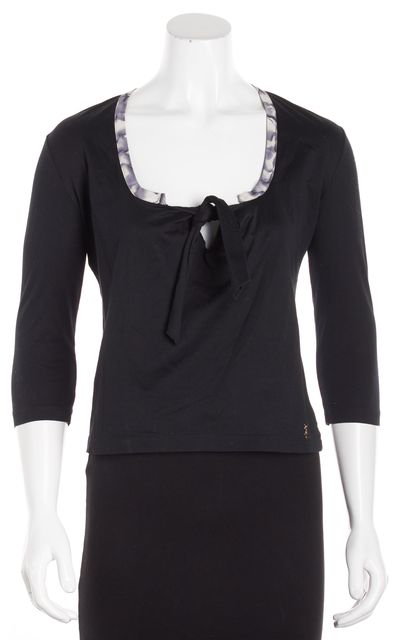 YVES SAINT LAURENT Black Cropped Blouse Top