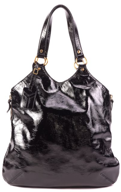 YVES SAINT LAURENT Black Patent Leather Tribute Tote